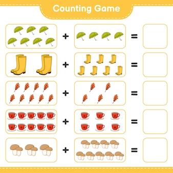 ゲームを数え、傘、長靴、オークの葉、コーヒーカップ、きのこポルチーニの数を数え、結果を書きます。教育的な子供向けゲーム、印刷可能なワークシート