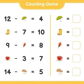계산 게임, 우산, 고무 장화, 참나무 잎, 커피 컵, 버섯 boletus의 수를 세고 결과를 씁니다. 교육용 어린이 게임, 인쇄 가능한 워크 시트