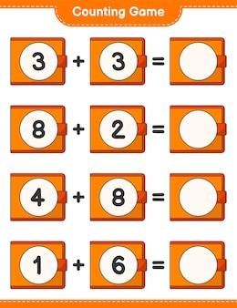 カウントゲームは財布の数を数え、結果を書く教育的な子供たちのゲーム