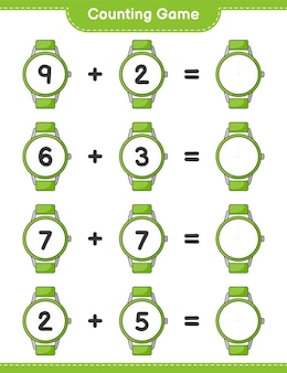カウントゲームは時計の数を数え、結果を書きます教育的な子供たちのゲーム