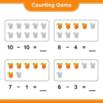 게임을 세고 ximenia의 수를 세고 결과를 씁니다. 교육용 어린이 게임, 인쇄 가능한 워크 시트