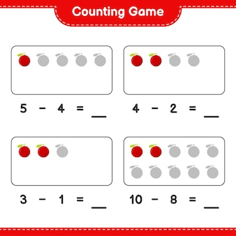 Считая игру, посчитайте количество yumberry и запишите результат. развивающая детская игра, лист для печати