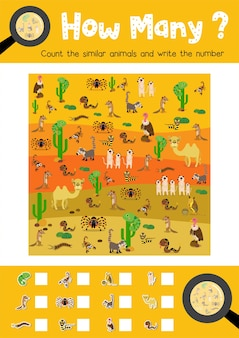 Counting game of desert animals