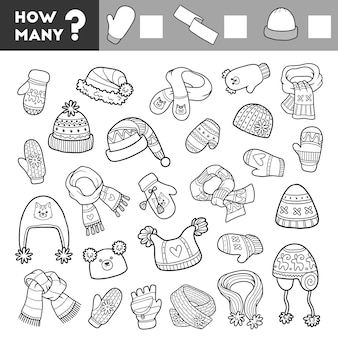 Счетная игра для детей обучающая математическая игра шарфы варежки и шапки
