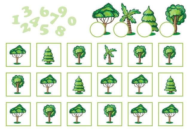 Подсчет игры для детей с деревьями. образовательная математическая игра в картинках. цвет.