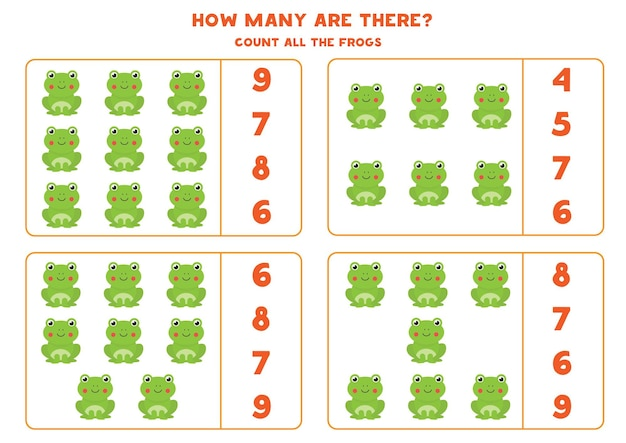 Счетная игра для детей. подсчитайте всех милых лягушек. рабочий лист для детей.