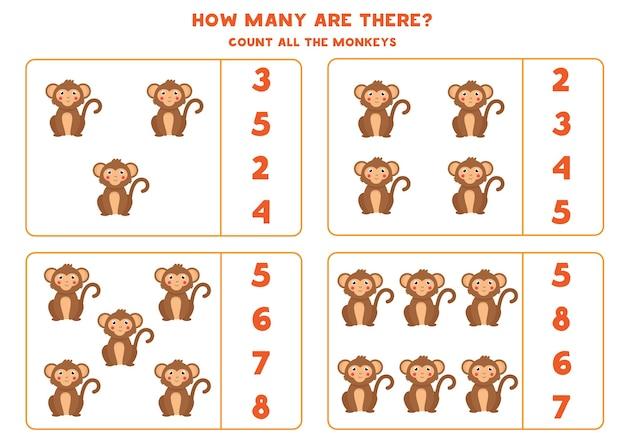 Счетная игра для детей. подсчитайте всех симпатичных обезьянок. рабочий лист для детей.