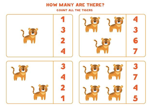 Счетная игра для детей. подсчитайте всех милых тигров. рабочий лист для детей.