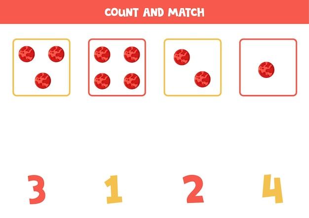 아이들을위한 게임을 계산합니다. 모든 행성 화성을 세고 숫자와 일치합니다. 어린이를위한 워크 시트.