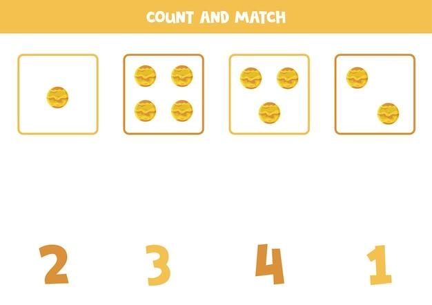 아이들을위한 게임을 계산합니다. 모든 행성 금성을 세고 숫자와 일치합니다. 어린이를위한 워크 시트.