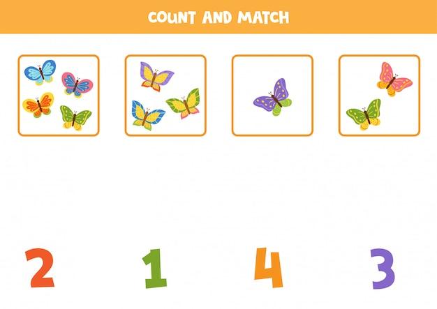 子供のためのゲームを数える。蝶と数字を合わせてください。