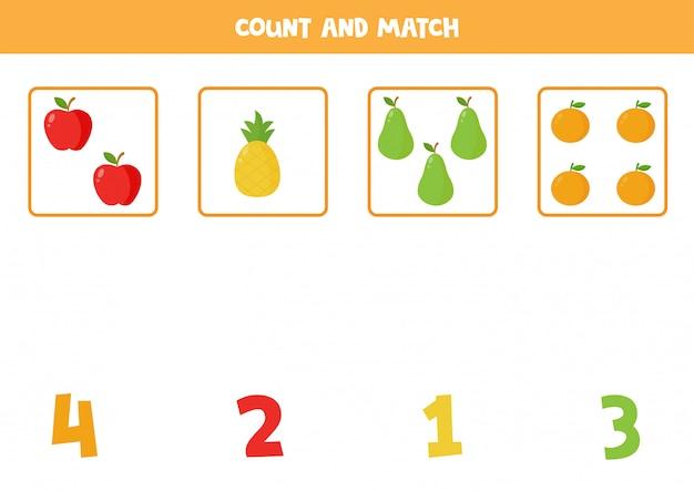 Подсчет игры для детей. соответствующий лист