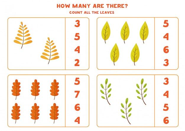 Счетная игра для детей с осенними листьями.