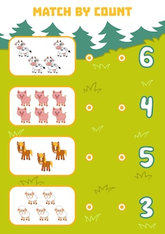 미취학 아동을 위한 숫자 세기 게임 그림에서 농장 동물의 수를 세고 정답을 선택하세요.