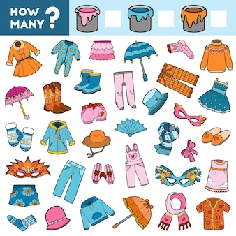 Игра-подсчет для детей дошкольного возраста подсчитайте, сколько одежды по цветам, и запишите результат