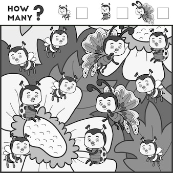 就学前の子供のためのカウントゲーム。教育的な数理ゲーム。アイテムの数を数えて結果を書いてください!昆虫と花
