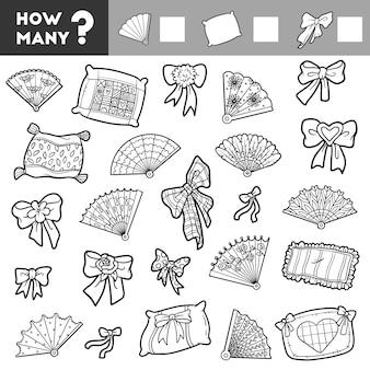 就学前の子供のためのカウントゲーム。教育的な数理ゲーム。アイテムの数を数えて結果を書いてください!枕、扇風機、弓