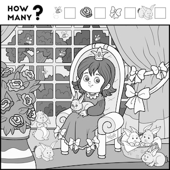 Подсчет игры для детей дошкольного возраста. учебная математическая игра. подсчитайте сколько предметов и напишите результат! принцесса и фон