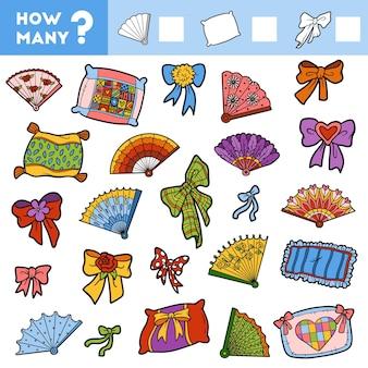 Счетная игра для детей дошкольного возраста обучающая математическая игра подушки-веера и бантики