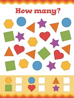 Подсчет игры для детей дошкольного возраста. узнайте формы и геометрические фигуры.