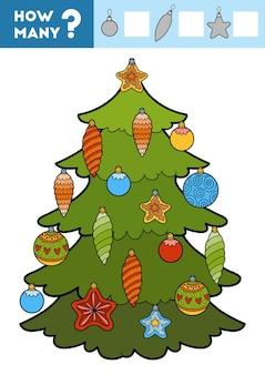 미취학 아동을 위한 카운팅 게임 항목의 수를 세고 결과를 작성하십시오 크리스마스 트리와 장난감