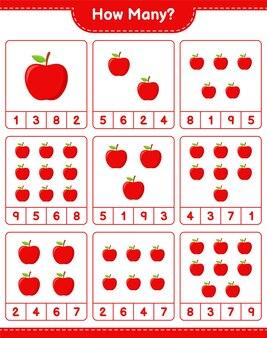 カウントゲーム、アップルの数。教育的な子供向けゲーム、印刷可能なワークシート