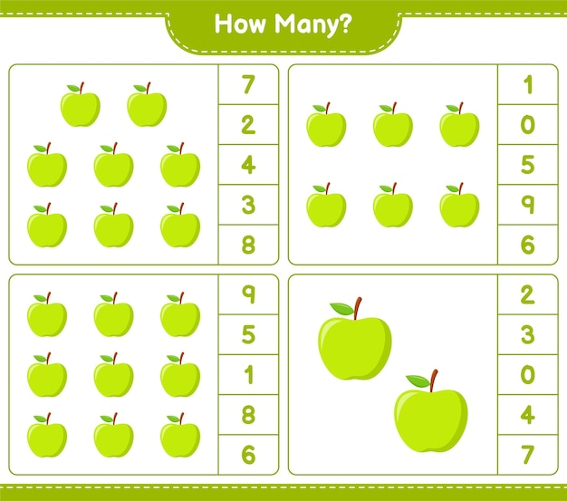 Подсчет игры, сколько яблок. развивающая детская игра, лист для печати