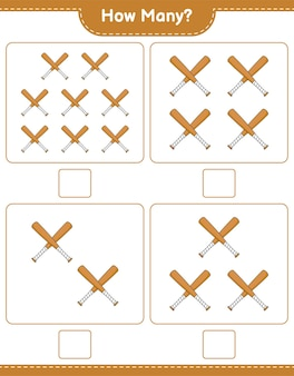 Counting game how many baseball bat educational children game printable worksheet