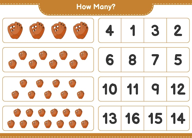Counting game, how many baseball glove. educational children game, printable worksheet, vector illustration