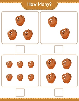 Counting game how many baseball glove educational children game printable worksheet