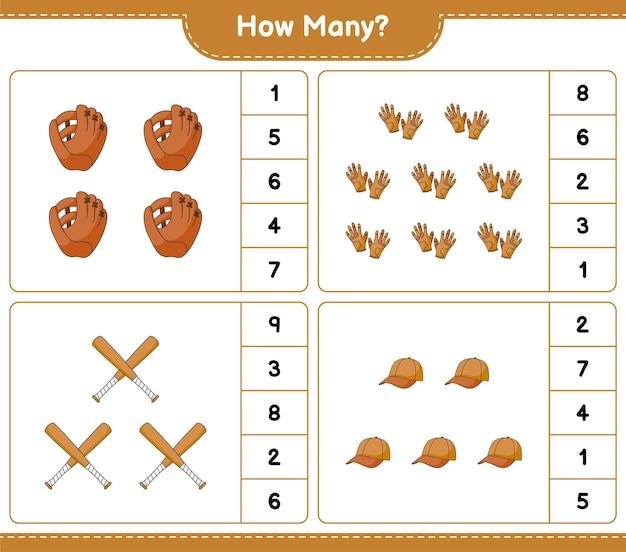 Counting game how many baseball glove golf gloves cap hat and baseball bat