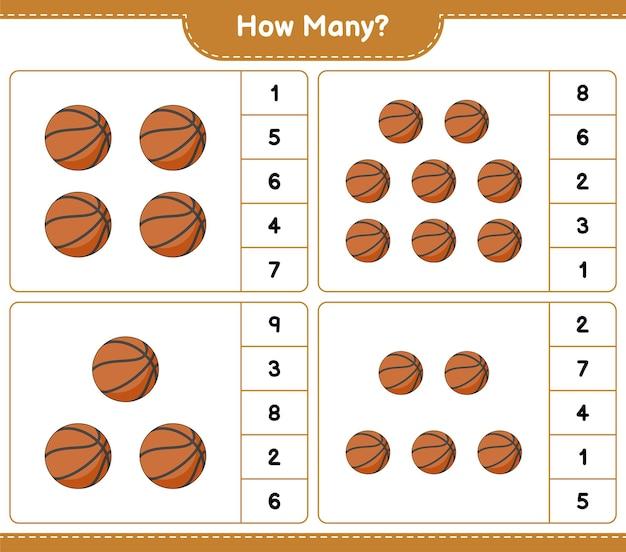 계산 게임 얼마나 많은 농구 교육 어린이 게임 인쇄용 워크 시트