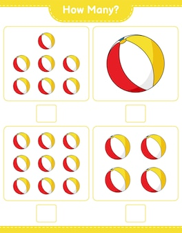 Counting game, how many beach ball. educational children game, printable worksheet