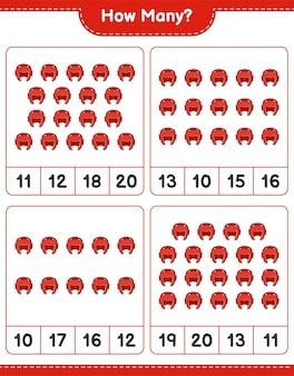 カウントゲームボクシングヘルメット教育子供ゲーム印刷可能なワークシートの数