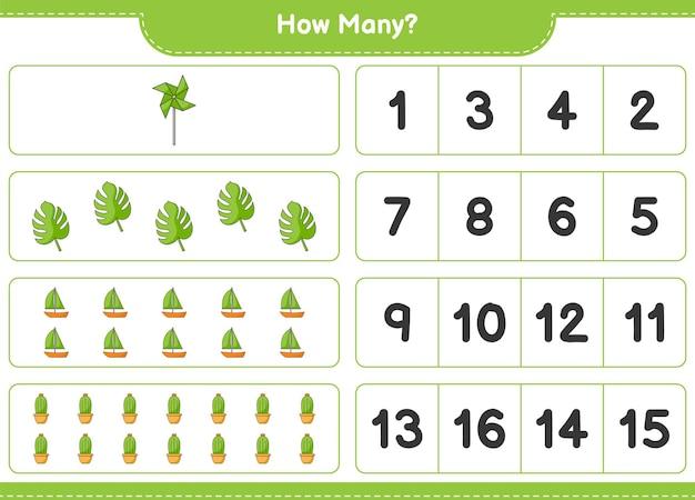 Подсчет игры, сколько кактусов, монстеры, парусника и вертушки. развивающая детская игра, лист для печати