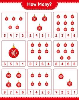 カウントゲーム、クリスマスボールの数。教育的な子供向けゲーム、印刷可能なワークシート