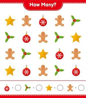 계산 게임, 크리스마스 장식 교육 어린이 게임, 인쇄 가능한 워크 시트, 일러스트레이션