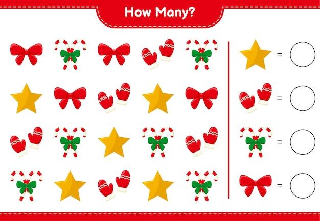 Подсчет игры, сколько рождественских украшений образовательная детская игра, лист для печати, иллюстрация