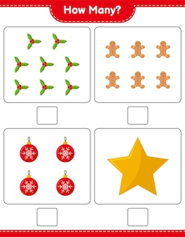 Counting game, how many christmas decoration educational children game, printable worksheet,