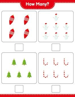 계산 게임, 크리스마스 장식 교육 어린이 게임, 인쇄 가능한 워크 시트, 프리미엄 벡터