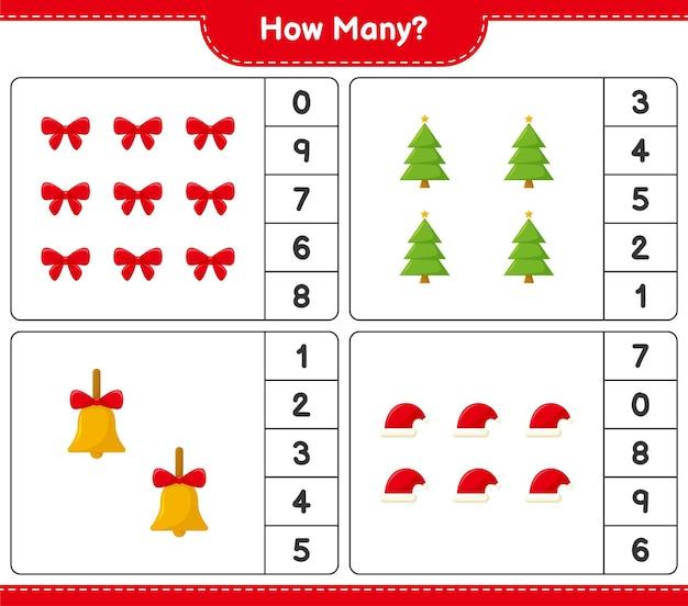 Подсчет игры, сколько рождественских украшений образовательная детская игра, лист для печати,