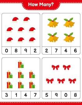 カウントゲーム、クリスマスデコレーション教育子供向けゲームの数、印刷可能なワークシート
