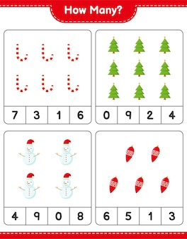 Counting game, how many christmas decoration educational children game, printable worksheet