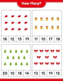 Подсчет игры, сколько рождественских украшений развивающая детская игра, лист для печати