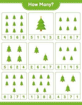 계산 게임, 얼마나 많은 크리스마스 트리. 교육용 어린이 게임, 인쇄 가능한 워크 시트