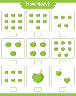 カウントゲーム、ココナッツの数。教育的な子供向けゲーム、印刷可能なワークシート