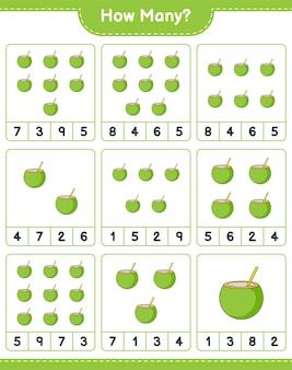 계산 게임, 얼마나 많은 코코넛. 교육용 어린이 게임, 인쇄 가능한 워크 시트