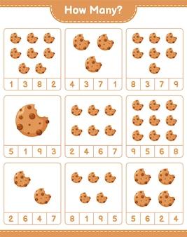 Подсчет игры, сколько файлов cookie. развивающая детская игра, лист для печати
