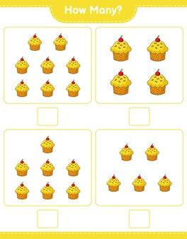 カウントゲーム、カップケーキの数。教育的な子供向けゲーム、印刷可能なワークシート