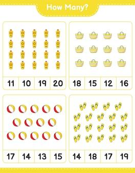 Подсчет игры, сколько шлепанцев, пляжных мячей, солнцезащитных кремов и пляжных сумок. развивающая детская игра, лист для печати